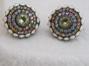 MCL Matthew Campbell Laurenza 935 gemstone & enamel button pierced earrings