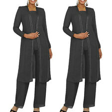 Mother's Of The Bride Dark Gray Grooms Coat+Vest+Pant Chiffon Size US-24W Dinner