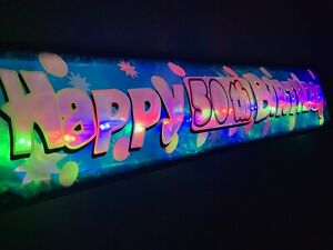 Happy 50th birthday Flashing Personalised  banner party decorations bunting Glow
