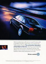1999 Volkswagen Passat VW Original Advertisement Print Art Car Ad J591
