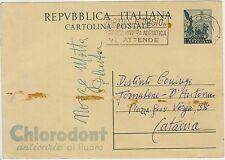 CARTOLINA POSTALE 20 CENT CHLORODONT ROMA X CATANIA 1953 TIMBRO PORTO S.GIORGIO