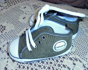 Carters Toddlers Olive Green Lace Up Shoes Size 3 NEW