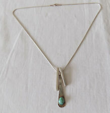 Beautiful Silver Necklace with Turquoise Stone Navajo