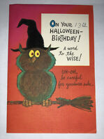 Vintage 1960's Norcross Halloween Birthday Greeting Card Owl