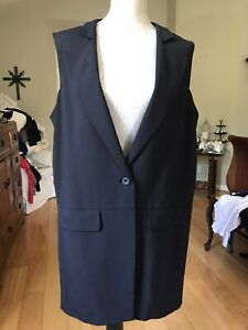 THE FISHER PROJECT BLACK NOTCH COLLAR LONG VEST WOOL/SILK EILEEN FISHER PRISTINE