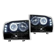 Recon Black/Smoke Halo Projector Headlights w/LED DRL for 99-04 F250/350/450/550