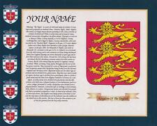 "HERITAGE COAT OF ARMS ENGLAND & YOUR SURNAME HISTORY PRINT 10"" x 8"" & FREE GIFT"