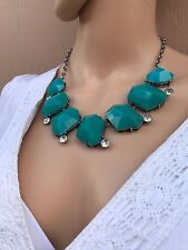 Elegant Turquoise Statement Necklace & Earring Set For Office or Night Wear NEW!