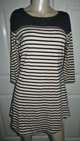 UMGEE USA Tunic Top Women's M Navy Blue & Tan Striped 3/4 Sleeve