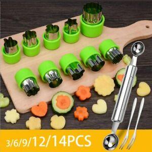 14 Pcs Fruit Vegetable Cutter Stainless Steel Shapes Set Mini Cookie Slicer Mold
