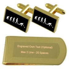 Evolution Ape To Man Bowling Gold-Tone Cufflinks Money Clip Engraved Gift Set