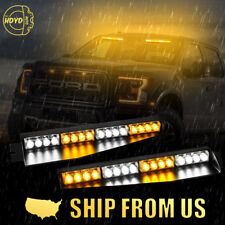 "34"" 32 LED Amber White Car Emergency Warning Visor Split Deck Strobe Light Bar"