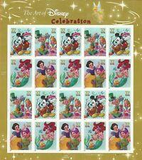 Scott #3912-15 Art of Disney Celebration postage Sheet of 20-37 cent stamps