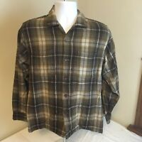 Vintage Woolrich Mens Shirt Brown Gray Yellow Plaid 90% Wool Blend Medium FS!