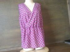 MERONA PURPLE GEOMETRIC PRINT V-NECK BLOUSE/TOP SIZE L SLEEVLESS