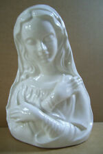 """Holy Mary Mother Of Jesus 8"""" Tall Nativity Flowers Vase Planter Figurine White"""