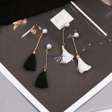 Korean Women Simple Pearl Tassel Drop Dangle Long Ear Studs Party Earrings Gift