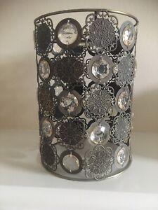 "Homebase Lampshade Cylinder Shape Metal / Jewel Gold Tone 🌟 Stunning 6 "" x 8"""