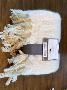 "Threshold Faux Mohair Stripe Acrylic Wool Throw Blanket Neutral/White  50"" x 60"""