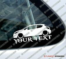 Custom YOUR TEXT Lowered car sticker - for Peugeot 208, 3-door hatchback