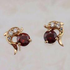 Cute Nice Dolphin Garnet Red Jewelry Yellow Golden Filled Stud Earrings H2928