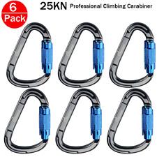6x D-Shape Climbing Carabiner Aluminum TWIST Locking Clip Rock Hook Buckle 25KN
