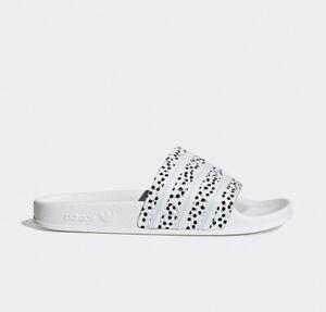 adidas ORIGINALS ADILETTE WOMENS DOTTED white black FX5922 NEU