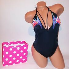 Victoria Secret PINK Swim Suit One Piece Black Strappy Embroidered Swimwear