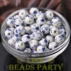 10pcs10mm Round Porcelain Ceramic Loose Spacer Beads Big Hole Deep Blue Flowers