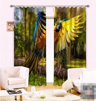 3D Gelber Papagei 8 Blockade Foto Vorhang Druckvorhang Vorhänge Stoff Fenster DE