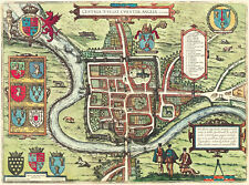 Old Map of Chester in 1581, plan by Georg Braun - repro, vintage, historical
