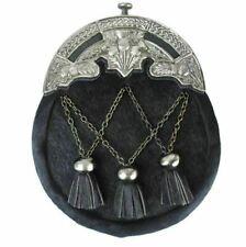 Men Scottish Traditional Full dress Antique Thistle Mantle Kilt Sporran & Chain