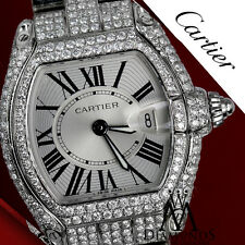 Ladies Diamond Cartier Roadster W62016V3 Stainless Steel Watch with Box & Papers