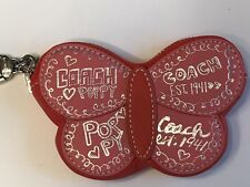 Coach Coin Pouch Keychain Pop Poppy Butterfly Pink Red Leather Key Ring Key Fob
