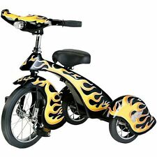 RETRO STYLE BLACK HOT ROD STEEL TRICYCLE KIDS HEAVY DUTY TRICYCLE WITH LIGHT