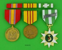 Vietnam Campaign, Service & National Defense Medals with mounted Ribbon Bar  T1