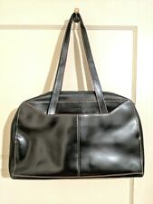 LODIS BLK LEATHER/RED TRIM LAPTOP BUSINESS TOTE BAG w/ ORGANIZATIONAL POCKET