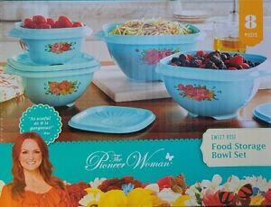 Pioneer Woman Sweet Rose Storage Container Bowls Set Blue Like Tupperware