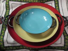 VTG Colorful Mid Century Enamel Metal Paella Style Handled Saute Pans ~ Set of 3
