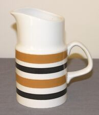 Vtg KSP BRACKEN jug 1-pint brown & mustard bands Staffordshire ironstone c1960s