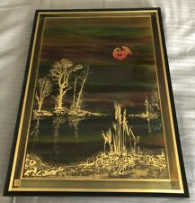 "Bernhard Rohne - Original 1984 Painting ""Lakeside""  Brass Etching"