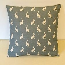 "NEW Peony & Sage Mini Hares Blue Linen Fabric 18"" Square Cushion Cover"