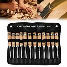 Wood Carving Chisel Set 12pc en acier au Carbone Traité Thermiquement Woodworking WW055