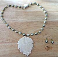 "17"" Sterling Silver Olive Green Pearl Crystal Necklace Earring Set Leaf Pendant"