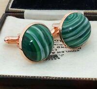 Vintage - Green Agate Stripe Glass Large 20mm Round Rose Gold Cufflinks