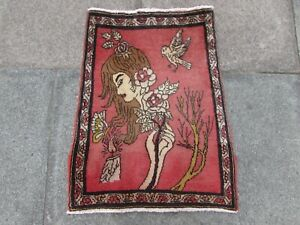 Vintage Traditional Hand Made Oriental Pink Red Wool Small Pictorial Rug 70x50cm