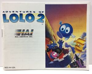 Adventures of Lolo 2 Instruction Booklet Manual Only Nintendo NES NTSC By Hal