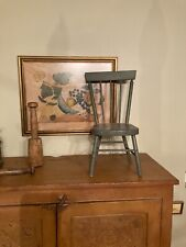 Early Adorable Antique Primitive Gray Painted Oak Wood Child's Chair