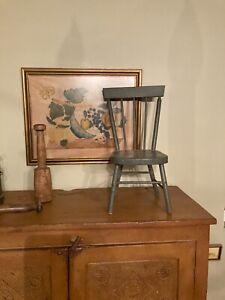 Adorable Petite Antique / Vintage Primitive Gray Painted Oak Wood Child's Chair