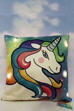 LIGHT UP Unicorn Cushion Magical Fantasy Rainbow Coloured Bedroom Pillow Gift